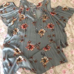Umgee brand cold shoulder floral top.
